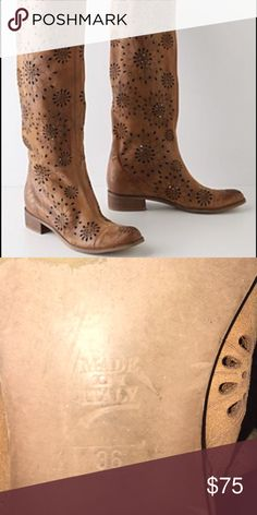 Anthropologie leather floral boots These boots are so beautiful I just don't wear them as much as I should. They are a size 36 and could fit anyone from a 6-7. These are used but still in excellent condition! I will accept offer and trades. Anthropologie Shoes Heeled Boots