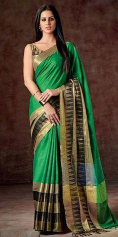 Classic Green And Black Silk Printed Saree.