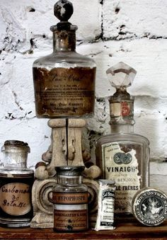 Antique apothecary bottles - see vintage apothecary labels on Graphics board. Apothecary Bottles, Altered Bottles, Antique Bottles, Vintage Bottles, Bottles And Jars, Glass Bottles, Perfume Bottles, Antique Glass, Apothecary Decor