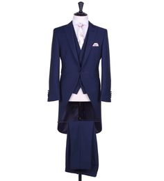Grooms royal blue slim fit tailcoat with matching single breasted waistcoat and matching trousers