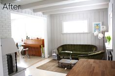 Super Painted Wood Walls Before And After Living Rooms Ideas Painting Wood Paneling, Paneling Painted, Painted Ceilings, Painted Wood Walls, White Paneling, Panelling, Exposed Wood, Wood Beams, White Walls