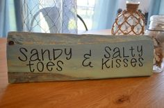 Distressed blue, green, teal pallet wood sigh Sandy Toes and Salty Kisses