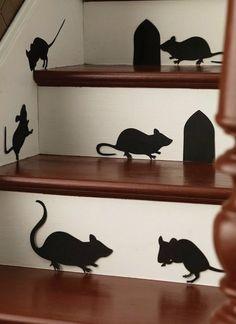 siluetas de cartulina negra para las escaleras