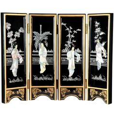 """14"""" x 18.5"""" Lacquer 4 Panel Room Divider"""