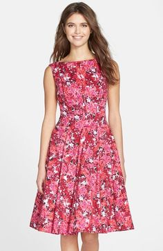 Maggy London Print Stretch Cotton Sateen Fit & Flare Dress (Regular & Petite) available at #Nordstrom