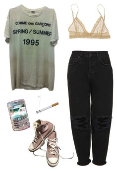 """txt me"" by unpleasantunicorn on Polyvore featuring Eberjey, Converse and Boutique"