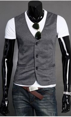 Mens Modern Three Button Cotten Mens Vest