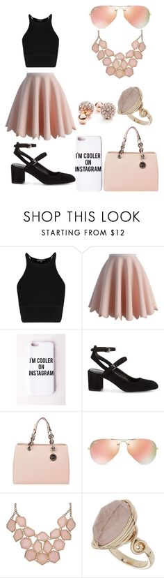 """You're making me blush!"" by chiclifewstyle ❤ liked on Polyvore featuring Chicwish, Missguided, Rebecca Minkoff, MICHAEL Michael Kors, Ray-Ban, Topshop, GUESS, women's clothing, women and female"