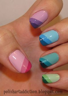 Ombre, tone in tone, shades, tape mani, purple, pink, green, blue, yellow, diagonal