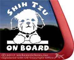 Shih Tzu On Board - Really cute puppy decal by NickerStickers. Made in the USA with high quality vinyl. #shihtzu #iloveshihtzus #nickerstickers