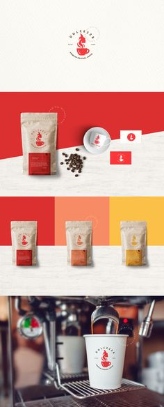 Dolcezza - Brand Identity for sale! Branding Design, Logo Design, Brand Identity, Creative Art, Logos, Coffee Logo, Tableware, Art Director, Beverages