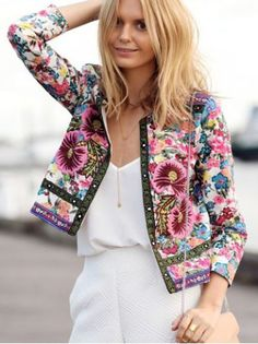 Retro Style 3/4 Sleeves Floral Print Jacket For Women