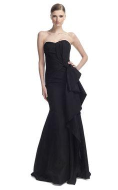 Carolina Herrera Night Collection Silk Faille Strapless Gown