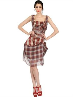 i wish!! : VIVIENNE WESTWOOD - DRAPED COTTON SILK TARTAN DRESS - LUISAVIAROMA - LUXURY SHOPPING WORLDWIDE SHIPPING - FLORENCE