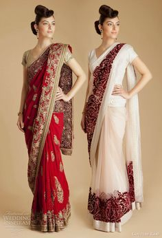 varun bahl designer bridal collection sarees available at Couture Rani - red georgette paisley sari, red velvet net sari