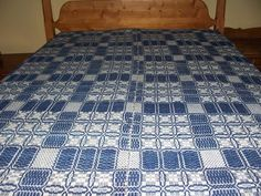 """Antique Hand Woven Blue Coverlet Signed 69"""" x 98"""" 