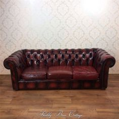 Chesterfield Oxblood Leather 3 Seater Sofa Suite Chair Vintage Retro Antique Ebay