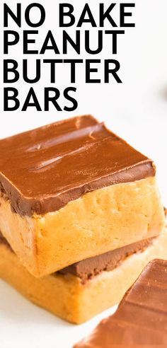 This quick and easy no bake peanut butter bars recipe is made with 5 simple ingredients. They are rich and fudgy and great as a healthy snack or dessert. Best Dessert Recipes, No Bake Desserts, Easy Desserts, Cookie Recipes, Delicious Desserts, Dessert Healthy, Desert Recipes, Peanut Butter Chocolate Bars, Peanut Butter Recipes