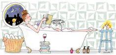 Reading in the bathtub, My Little Paris by Kanako Illustration Parisienne, Paris Illustration, Illustrations, Cute Illustration, Journaling, Little Paris, Bathroom Art, Bath Art, Bathrooms