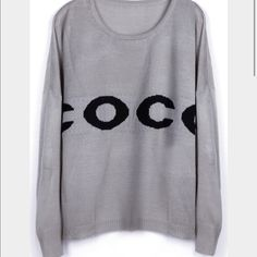 """""""COCO"""" grey studded crew neck ☃ Grey sweater with """"COCO"""" lettering across the front in black. Black studded neckline. Semi-fitted. Size small. Bought from an Asian boutique online. Sweaters Crew & Scoop Necks"""