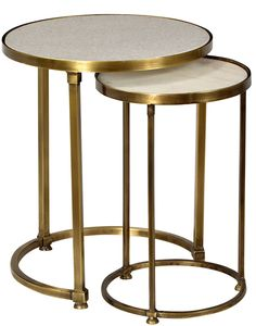 Audrey Marble and Antiqued Brass Side TableBuilt in SteelInset Polished Marble TopAntiqued Brass FinishSold as a Set of Two