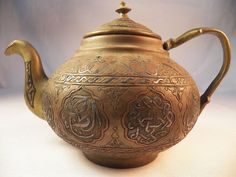 RARE Antique Turkish Persian Islamic Coffee or Tea Pot Brass Copper Silver inlay #teapot #middleeast #arabic