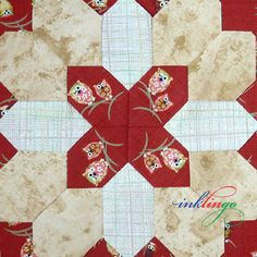 Lucy Boston Patchwork of the Crosses POTC - Fussy cut hexagons with Inklingo