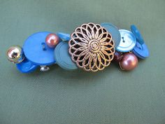 Blue and Brown Button Barrette made with Vintage Buttons on Etsy, $12.00