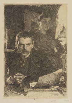 Zorn et sa femme (2e état) / Zorn, 1890. Eau-forte ; 31,7 x 21,1 cm (élt d'impr.)