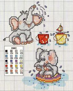 Graficos-de-ponto-cruz-de-bebes-elefante-tomando-banho Ponto cruz fofos