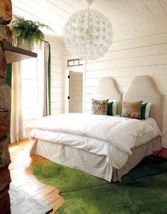 Ikea Chandelier - Country - bedroom - Atlanta Homes & Lifestyles Ikea Chandelier, Ikea Lamp, Chandeliers, Casas En Atlanta, Green And White Bedroom, White Bedrooms, Small Bedrooms, Two Twin Beds, Atlanta Homes