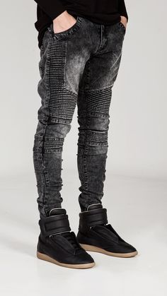 Black-Ice Biker Denim