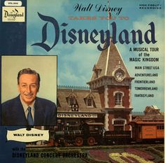 """Walt Disney Takes You to Disneyland"" a ""Disneyland Record"" recorded by ""Walt Disney Music Co."" with the ""Disneyland Concert Orchestra"". That's a lot of ""Disney's""! See this and other Disneyland Record covers over at ""A Sampler of Things"" These were originally from 1956. This one is old, not sure it it's from 1956, but it's a ""High Fidelity Recording"" and the record itself is as thick as a plate! You can actually buy the CD from Disney  they place this LP as 1956."