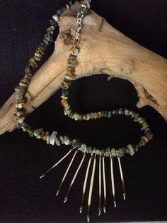 Gemstone Necklace Genuine Ocean Jasper and Porcupine Quills #Handmade #FanStyle