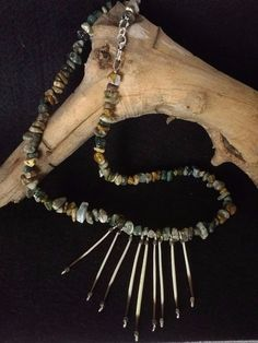 Gemstone Necklace Genuine Ocean Jasper and Porcupine Quills #Handmade #FanStyle