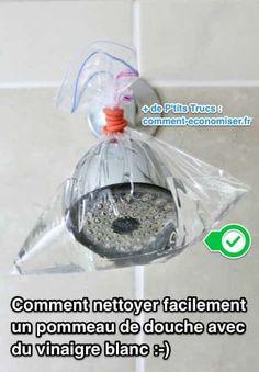 Entre le calcaire et les saletés collées par le savon, le pommeau de douche s'encrasse très rapidement. Mais je vous rassure tout de suite, c'est un jeu d'enfant de le nettoyer.  Découvrez l'astuce ici : http://www.comment-economiser.fr/comment-nettoyer-un-pommeau-de-douche-avec-du-vinaigre-blanc.html?utm_content=bufferf972f&utm_medium=social&utm_source=pinterest.com&utm_campaign=buffer