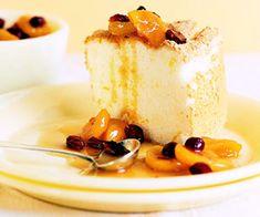 Orange Angel Food Cake with Fruit Compote from fitnessmagazine.com