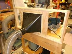 "Miter Saw Dust Hood by SteveW -- Homemade miter saw dust hood constructed from lumber and 3/4"" plywood. Incorporates a cutout for the plastic hood. http://www.homemadetools.net/homemade-miter-saw-dust-hood-2"