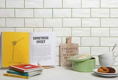White kitchen brick tiles