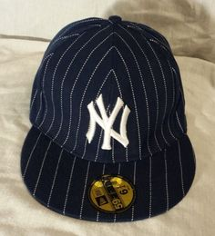 New Era 59Fifty Hat New York Yankees Fitted 6 3 4 Pinstripe Navy White   7ec810372591
