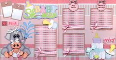 BABY SHOWER GIRL 2 Premade Scrapbook Pages paper piecing layout 4 album ~ CHERRY