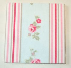 Clarke and Clarke floral stripe duckegg/pink ceramic kitchen or bathroom wall tiles.