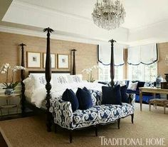Color palette & couch @ end of bed. A navy-and-tan palette wraps this master bedroom in sophisticated comfort - Traditional Home® / Photo: Werner Straube / Design: Megan Winters Dream Bedroom, Home Bedroom, Tan Bedroom, Bedroom Ideas, Master Bedroom With Wallpaper, Navy Bedrooms, Royal Bedroom, Master Bedrooms, Home Interior