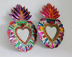 Favorite Like this item? Add it to your favorites to revisit it later. Sacred Heart tin metal mirror / Mexican folk art / bright colorful mixed media / rainbow silver / wedding gift