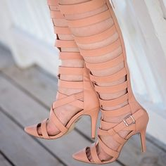 Blush Pink Gladiator Heels These statement heels need no explaining. They are drop dead gorgeous in the pretty blush pink color. They run true to size in my opinion. Worn a few times and in great condition. Shoes Heels