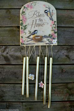 BLESS THIS HOME WIND CHIME  14 IN. X 7 IN. RESIN TOP BIRDS NEST BRASS CHIMES