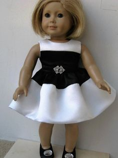 Black & White Dress for American Girl Dolls by SusieRegina on Etsy American Girl Dress, American Doll Clothes, Ag Doll Clothes, Doll Clothes Patterns, Clothing Patterns, American Girls, Doll Patterns, Sewing Patterns, Hippie Dresses