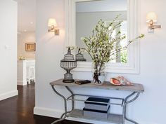 Palm Beach home - entry, love everything about this Entry Hallway, Foyer, Entryway, Inviting Home, White Mirror, Vintage Lighting, White Walls, Light Decorations, Driftwood
