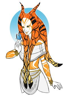 """moonlitalien: """"I made a Togruta and based her colors and overall design off a Monarch butterfly! I'm going to keep her as an OC since I really like her and I might have some ideas for a backstory for..."""