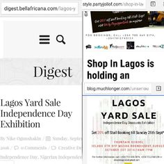 #LagosYardSale Independence Day Exhibition in the news  BellAfricana Digest http://ift.tt/2cWpagi  The Other Style blog http://ift.tt/2dkBRnC  Muchlonger.com http://ift.tt/2cWq0JV  Be a part of a growing community of entrepreneurs and discount shoppers. Be a part of the #BuyNigerian movement  To book a stall call 0703 569 3174 07012742129  #shopinlagos #ynaija #thisistos #theotherstyle #9jacampusstyle #muchlonger #bellafricana #madeinnigeria #buynaijatogrowthenaira #buynigerian…